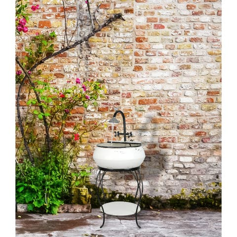 "Alpine Corporation 32"" Tall Outdoor Antique Metal Sink Water Fountain and Stand, White"