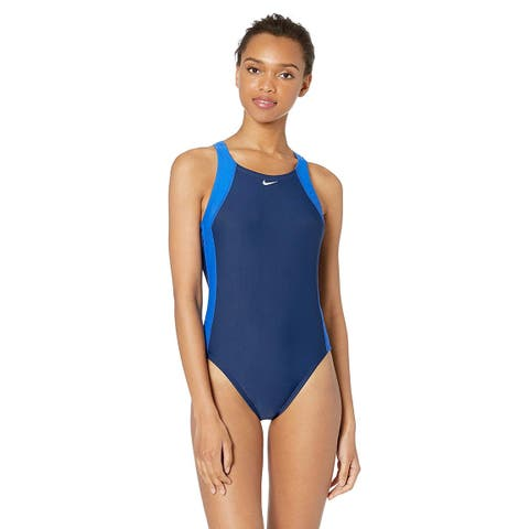 Nike Swim Women's Fast Back One Piece Swimsuit, Game, Blue, Size 30