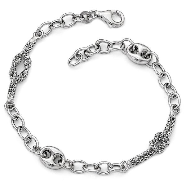 Italian 14k White Gold Polished and Textured Fancy Link Bracelet - 8 inches