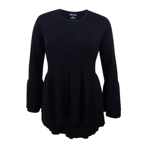 City Chic Women's Trendy Plus Size Bell-Sleeve Peplum Sweater (M/18W, Black) - Black - M/18W