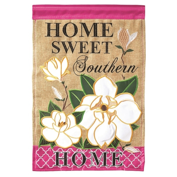 """Brown, White and Pink Home Sweet Southern Garden Flag 13"""" x 18"""" - N/A"""