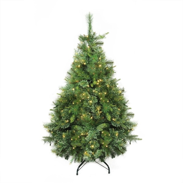 """4.5' x 37"""" Pre-Lit Cashmere Mixed Pine Artificial Christmas Tree - Warm Clear LED Lights - green"""