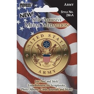 "Military Self-Adhesive Metal Medallion 2""-Army"