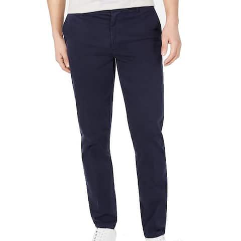 DKNY Mens Chino Pants Navy Blue Size 38x30 Bedford Straight Leg Stretch