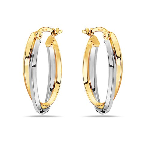 Pori 14K Yellow and White Gold Twisted Oval Hoop Earrings