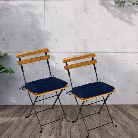 Set of Two Folding Solid Teak Wood Power Coating Frame Chair