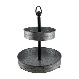 Rustic Round 2 Tier Galvanized Metal Serving Tray