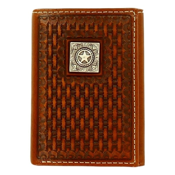 Ariat Western Wallet Mens Tri-fold Basketweave Texas Star Tan