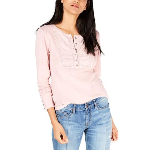 Lucky Brand Womens Henley Top Cotton Embroidered