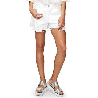 RACHEL Rachel Roy Embroidered Ripped Shorts White - 29