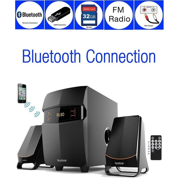 Boytone BT-3685F, Wireless Bluetooth 2.1 Multimedia Powerful Bass System, FM Radio, Remote, Aux Port, USB/SD Slot
