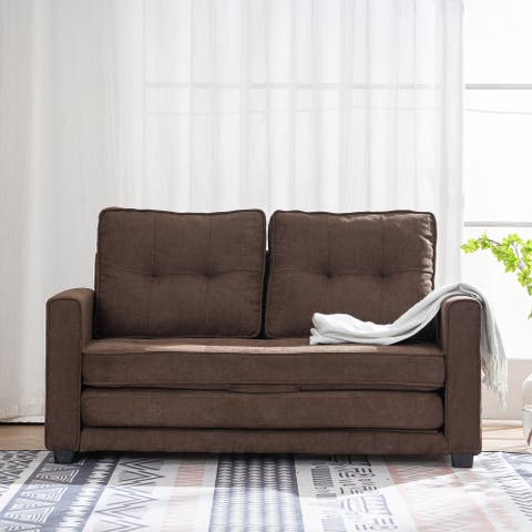 Upholstery Fabric Sleeper Sofa, Square Arm Sofa Bed Double Sofa Bed Brown
