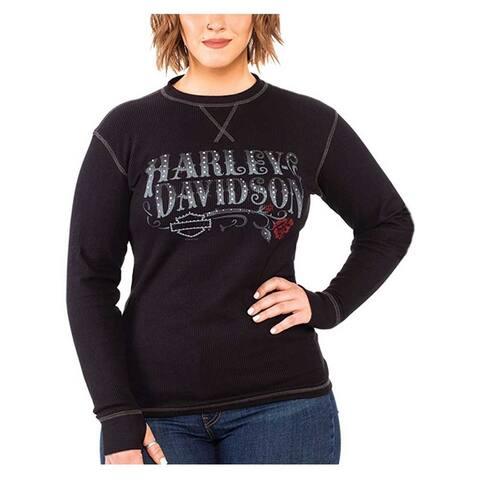 Harley-Davidson Women's Bling Script Long Sleeve Thermal Tee w/Thumbholes, Black