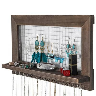Wall Mounted Jewelry Shelf Storage with 16 Hooks Brown - N/A