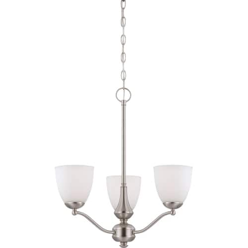 Nuvo Lighting 60/5056 Patton ES Three-Light Single-Tier Chandelier with Frosted Glass Shades