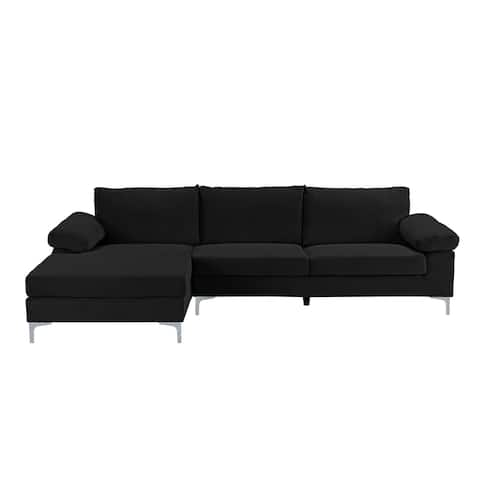 Velvet Upholstered L-Shape Sectional Sofa