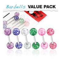 6 Pcs Pack of Assorted Color Surgical Steel Barbells with UV Color Ultra Glitter Ball - 14 GA