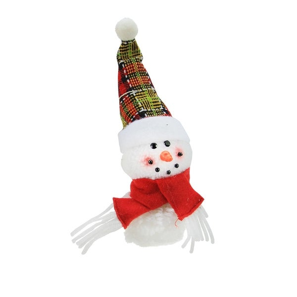 "8"" Plush Jolly Snowman with Plaid Santa Hat Decorative Christmas Ornament - WHITE"