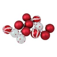 12ct Red and White Patterned Glass Ball Christmas Ornament Set 1.75""