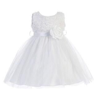 Baby Girls White Rosette Top Tulle Sash Sleeveless Flower Girl Dress