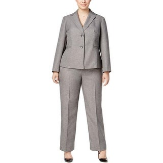 Le Suit Womens Plus Copenhagen Pant Suit Herringbone 2PC - 20W