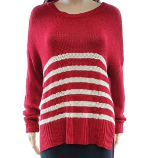 RDI NEW Red Women's Size Medium M Striped Knit Scoop Neck Sweater
