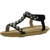 Forever Calista55 Kids T-Strap Sparkle Crystal Rhinestone Slingback Sandals