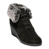 Cole Haan Women's Coralie Waterproof Wedge Bootie Black Waterproof Suede/Faux Fur
