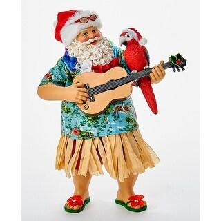 Beach Santa in Hula Skirt Playing Ukulele Tabletop Figurine 11 Inches