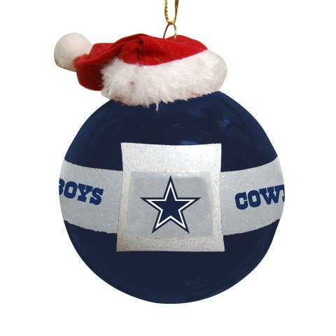 Dallas Cowboys Santa Belt Glass Ornament