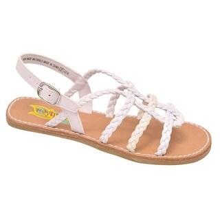 Rachel Shoes Little Girls White Braided Strap Buckled Sandals