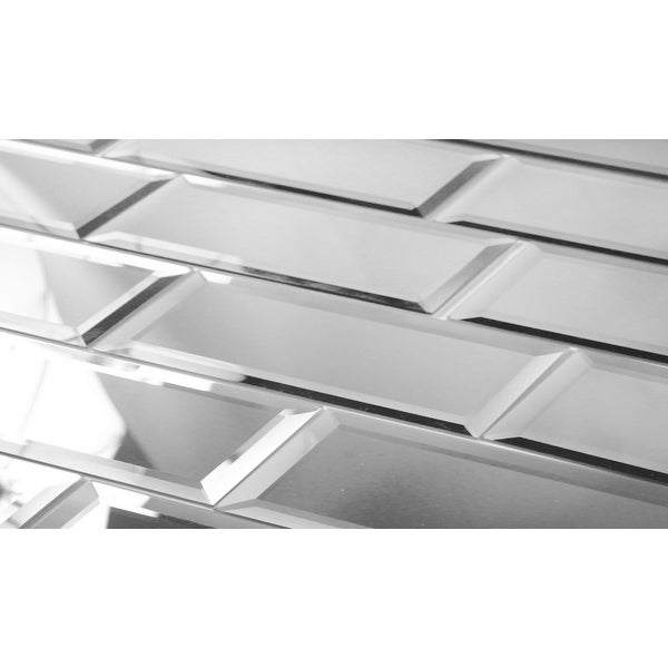 """Miseno MT-WHSREF0312-SI Reflections - 3"""" x 12"""" Rectangle Wall Tile - Glossy Visual - Silver"""