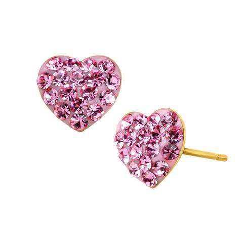 Girl's Heart Stud Earrings with Pink Crystals in 14K Gold