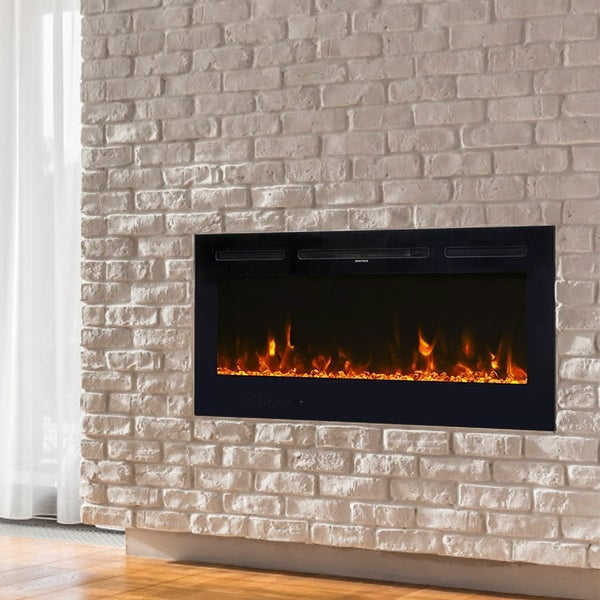 Kinbor 40 Inches Electric Fireplace Insert, in-Wall Recessed and Wall Mounted, 750/1500W Fireplace Heater, 12 Flame Color