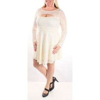 Womens Ivory Long Sleeve Knee Length A-Line Dress Size: XS