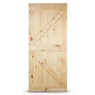 "BELLEZE 36"" x 84"" inches DIY Sliding Barn Door Natural Wood Pine Unfinished, Left Arrow"