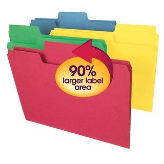 Smead SuperTab 1/3 Cut 1-Ply Top Tab File Folder, Letter, Assorted Colors, Pack of 100