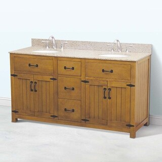 "DecoLav 5232-60 Countryside 61"" Freestanding Vanity Set with Birch Cabinet and G"
