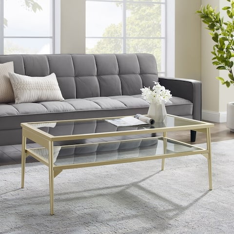 Silver Orchid 42-inch Metal and Glass Two-Tier Coffee Table