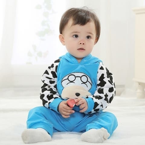 Children's Clothing Autumn New Product Suitt Boys and Girls Korean Version Cartoon Dog Baby Pure Cotton Suit- N1