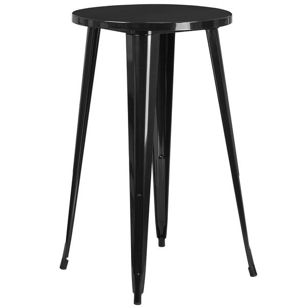 Collins Round 24'' Black Metal Bar Height Table for Indoor/Outdoor/Patio/Bar/Restaurant