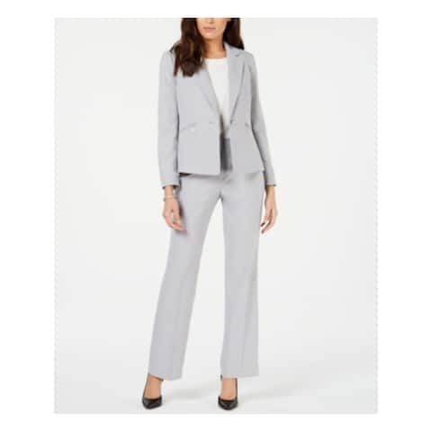 LE SUIT Womens Gray Blazer Wear To Work Pant Suit Size 14