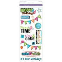Multicraft Classic Theme Clear Stickers-Birthday