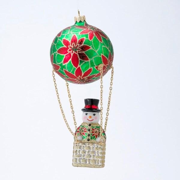 David Strand Designs Glass Frosty Skies Poinsettias Snowman Christmas Ornament - RED