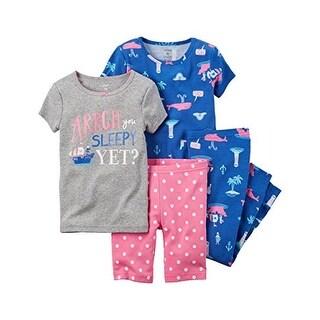 Carter's Baby Girls' 4-Piece Snug Fit Cotton Pajamas,Arrgh You Sleepy 24 Months