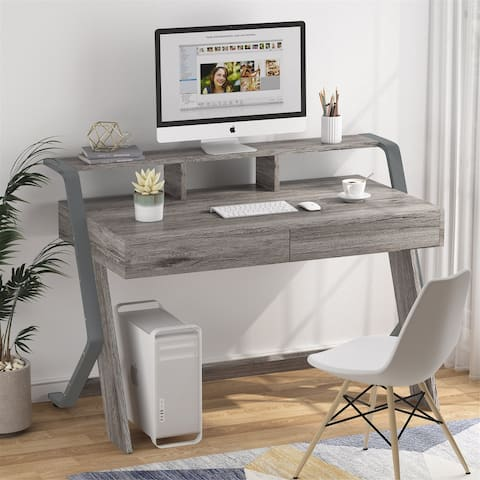 """47"""" Computer Desk with Monitor Stand, Study table with 2 Storage Drawers"""