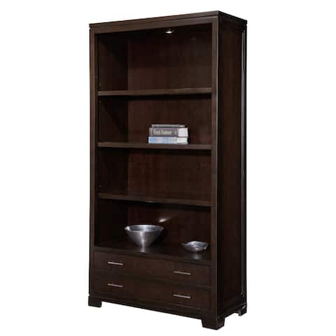 Hekman Solid Wood Mocha Ash Bookshelf with Drawer (Middle Section)