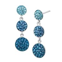 Crystaluxe Triple Circle Drop Earrings with Swarovski Crystals in Sterling Silver - Blue