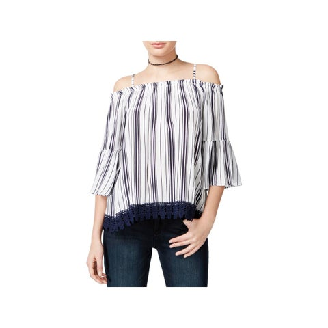 Crave Fame by Almost Famous Womens Juniors Pullover Top Woven Cold Shoulder - L