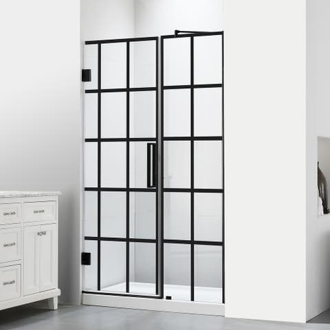 """FELYL 48"""" W x 72"""" H Hinged Semi-Frameless Shower Door with Heat Soaking Process and Protective Coating Clear Glass"""
